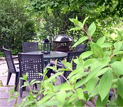 Patio, table, view at Eddington House Inn